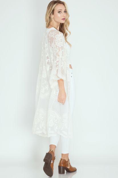 3850f136e Lace Duster Kimono - Cream | Products | Lace kimono, Lace, Kimono