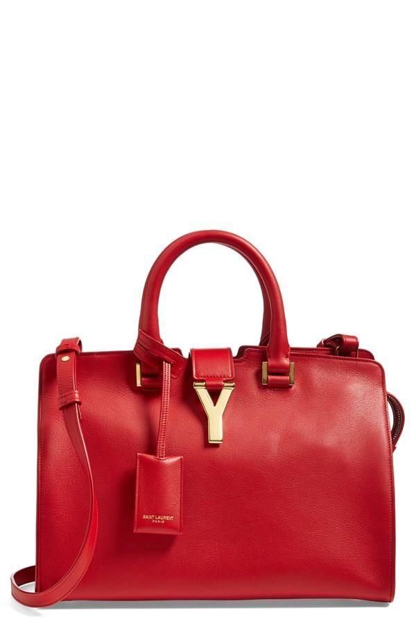 9fa53308f8 In love with this red hot Saint Laurent  Petite Ligne Y  leather tote.