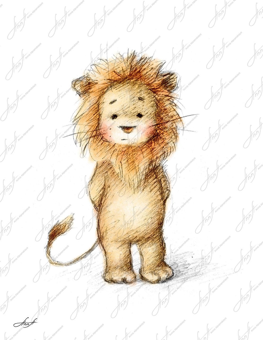 Pencil and Watercolor Drawing of Lion, Nursery Picture, Nursery Art ...