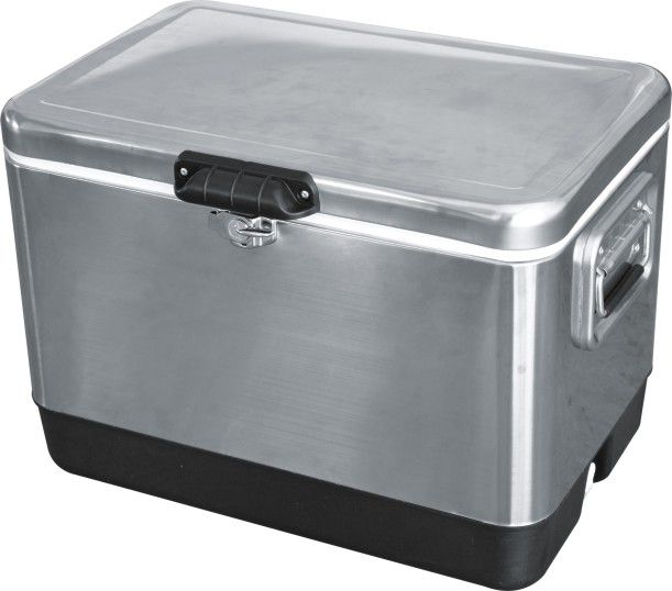 Stainless Steel Patio Deck Outdoor Bar Kitchen Cooler With Cart 54 Quart  Capacity