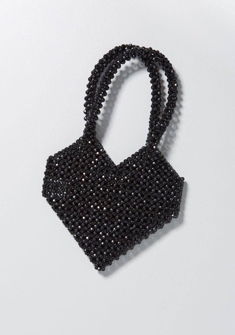 Ciao Amore Beaded Heart Clutch Black | ModCloth