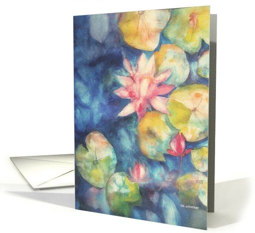 water lilies, watercolor painting, blank note card