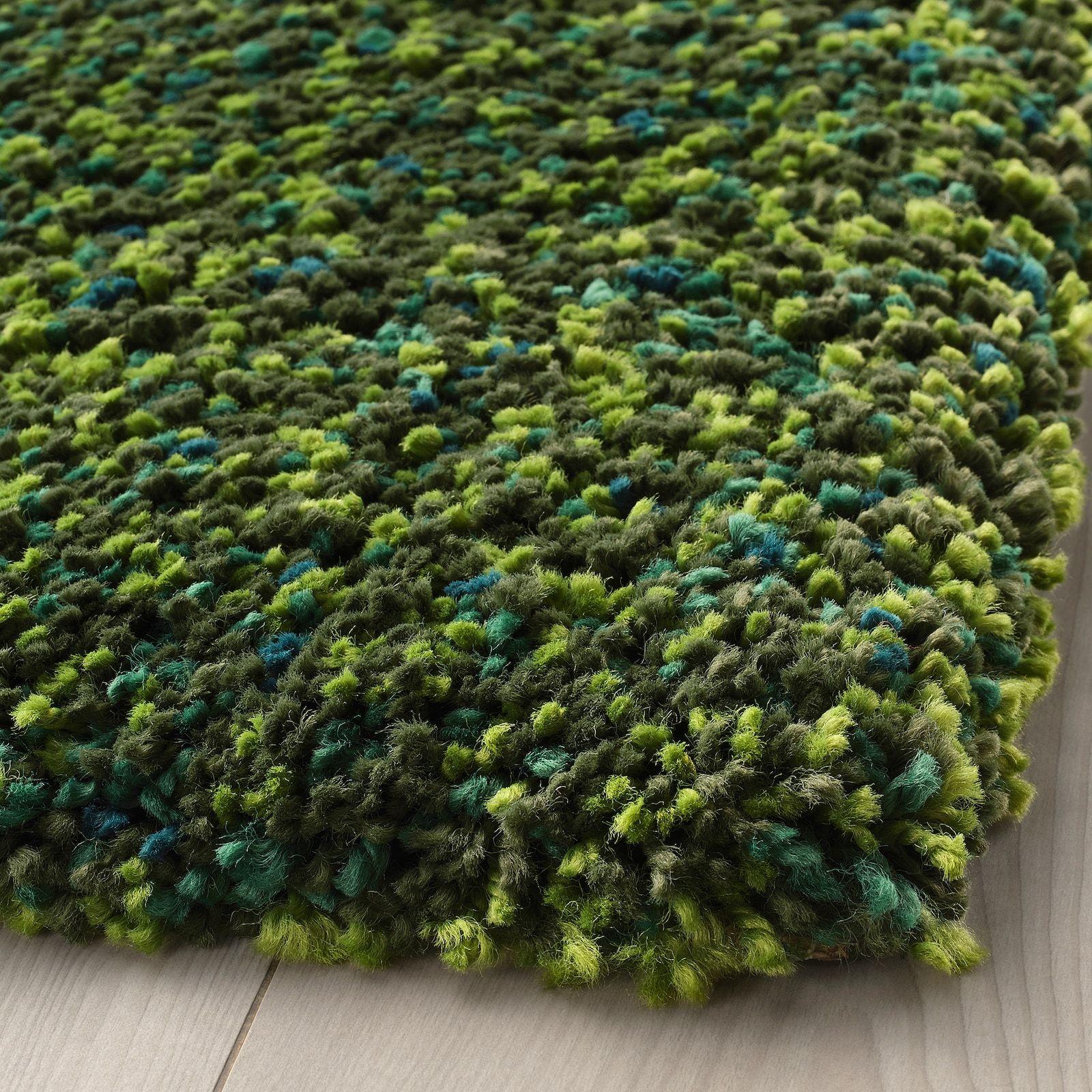 Vindum Rug High Pile Green 6 7 X8 10 Ikea In 2020 Green Shag Rug Green Rug Bedroom Rugs