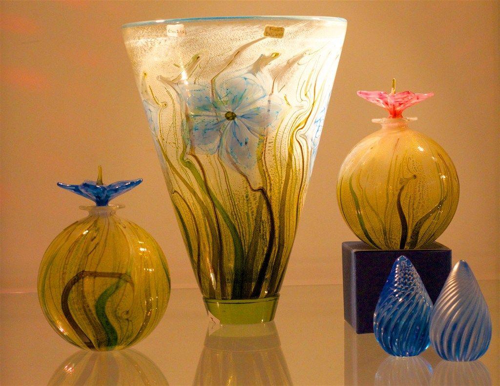 Glass art vases.