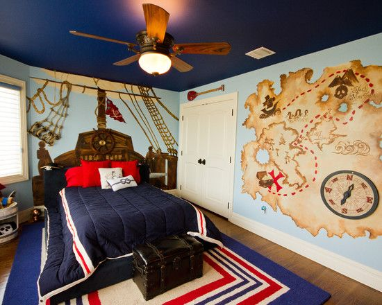 awesome interior decoration with cool themes for rooms charming traditional kids bedroom with cool pirates - Traditional Kids Room Interior