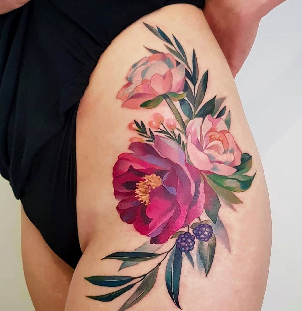 Colored Flower Tattoo Tattoo Roses Pink Roses Tatoo Colored Flower Tattoo Tattoo Roses Pink In 2020 Skin Color Tattoos Floral Thigh Tattoos Floral Tattoo Sleeve