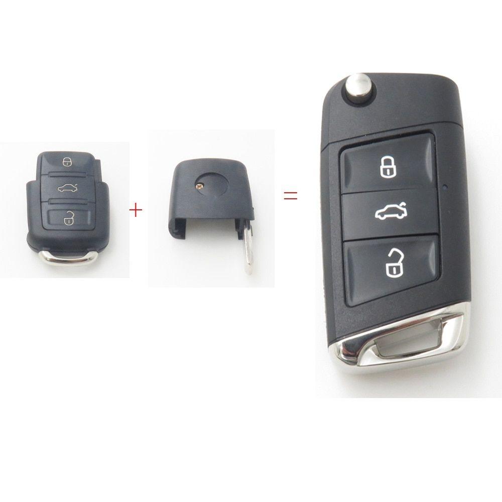 Xinyuexin Modified Flip Remote Key Shell Fob Case For Vw Jetta Golf Passat 3button Remote Key Change To New Style No Logo Volkswagen Jetta Vw Jetta Key Change