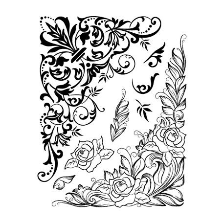 tampon dessin fleur rose coin nature fleur pinterest dessin arabesque tampon et arabesque. Black Bedroom Furniture Sets. Home Design Ideas
