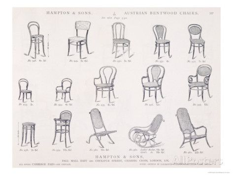 Austrian Bentwood Chairs From Hampton And Sons Catalogue Of Furniture,  C.1902