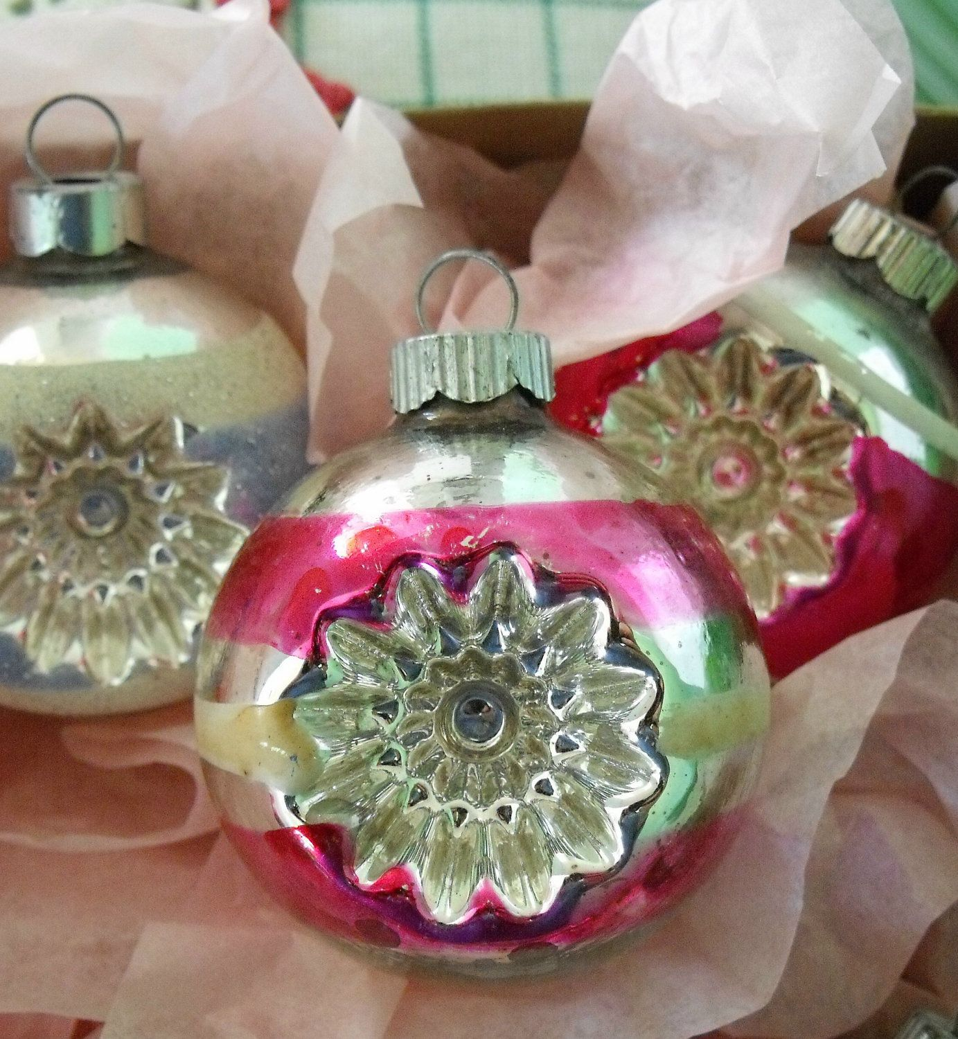 12 vintage glass Christmas ornaments classic Shiny Brite indents