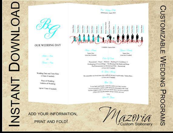 silhouette wedding programs diy tri fold customizable instant