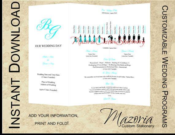 Silhouette Wedding Programs Diy Tri Fold Customizable Instant Template Tiffany 14 Party