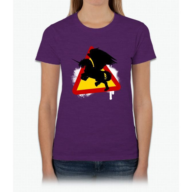 Warning Sign Unicorn Womens T-Shirt