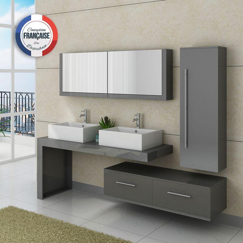 DIS9350GT Meuble salle de bain gris taupe