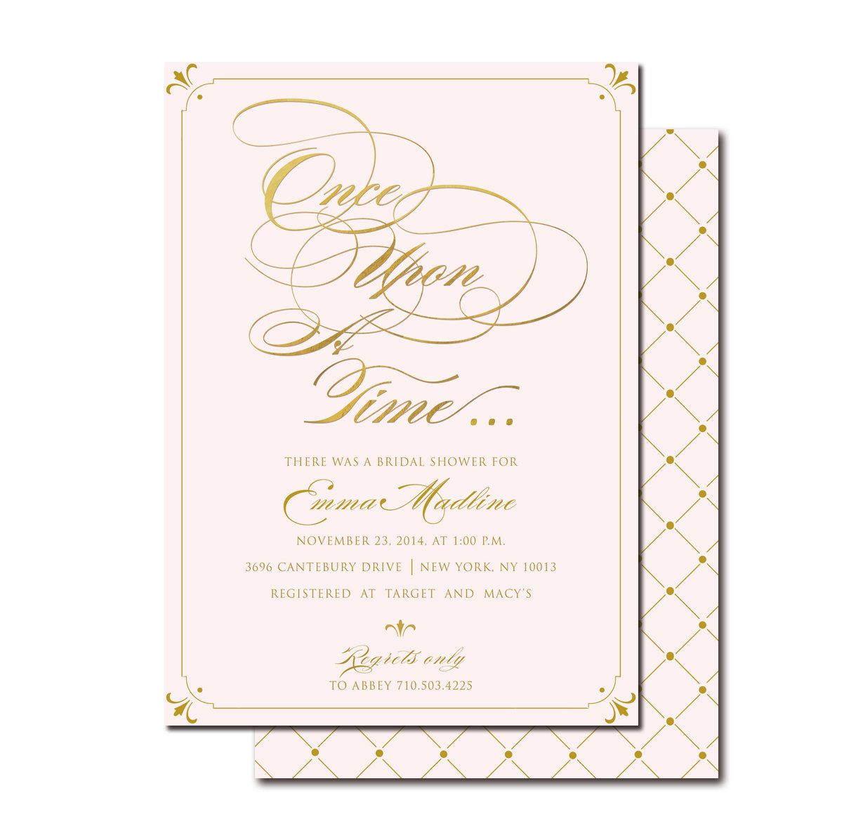 Once Upon A Time Blush Gold Bridal Shower Invitation Printable