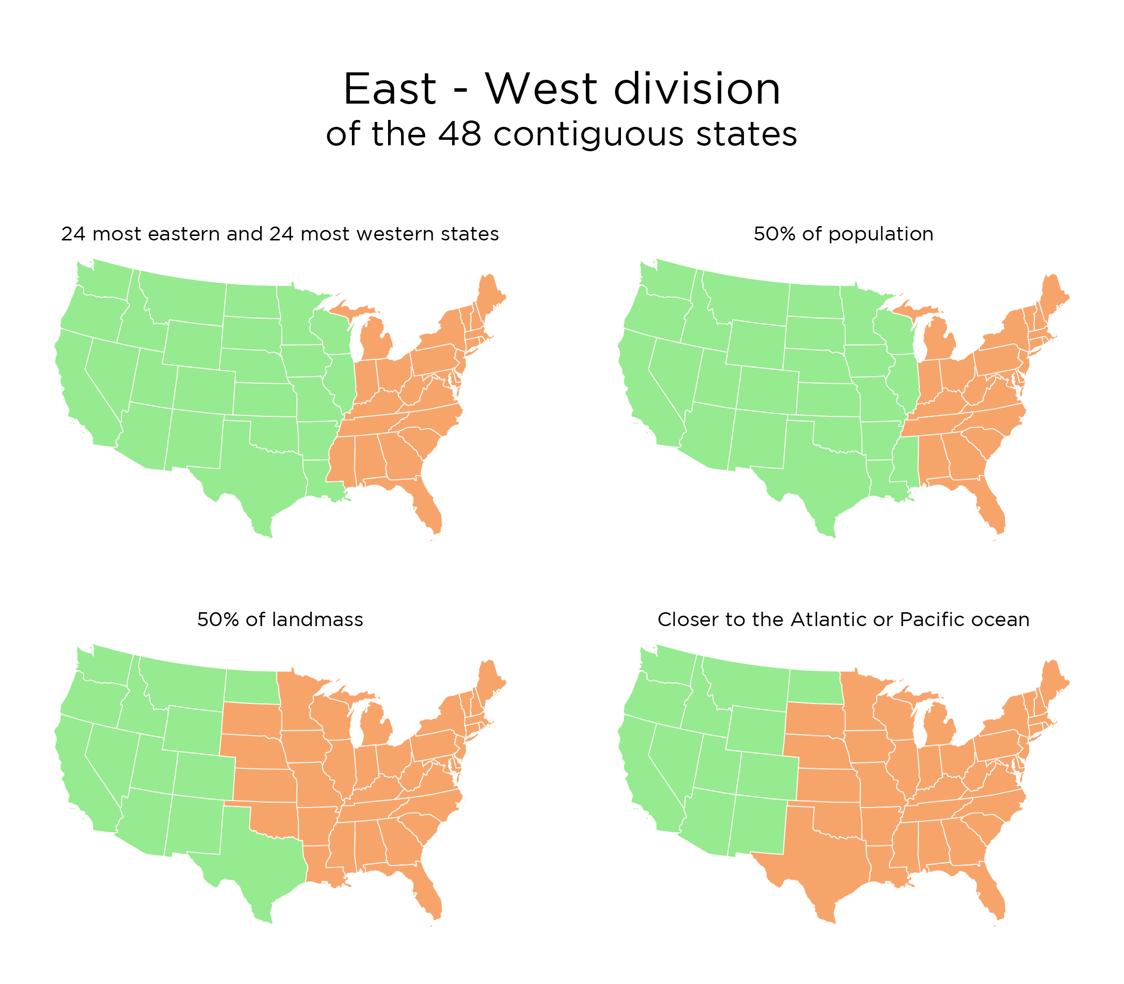 USA East - West division, 4 methods | AAA | Map, Division und United ...
