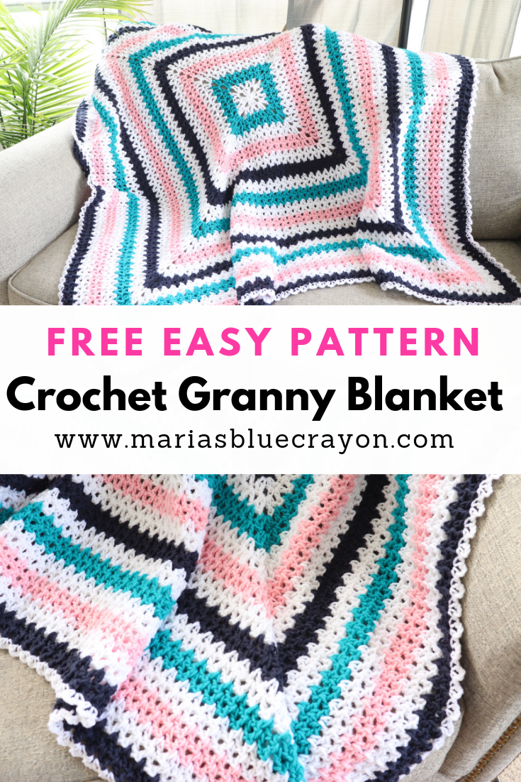 Crochet Granny Square Blanket Pattern #grannysquares