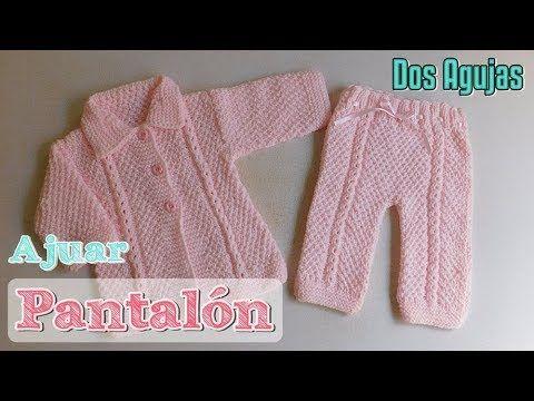 Ajuar: Pantalón para bebe a dos agujas, palitos | LILIANA MILKA ...