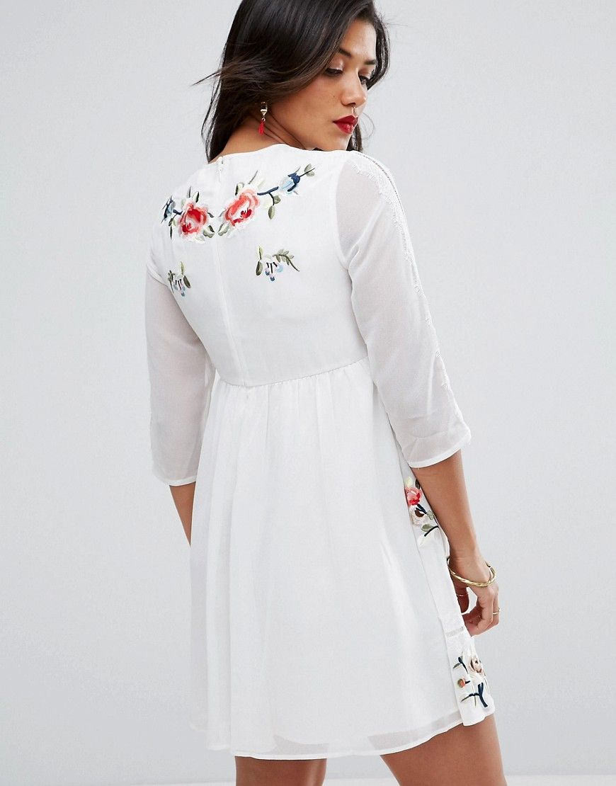 dba1a51e9a8fa ASOS Maternity PREMIUM Midi Skater Dress with Floral Embroidery - Whit
