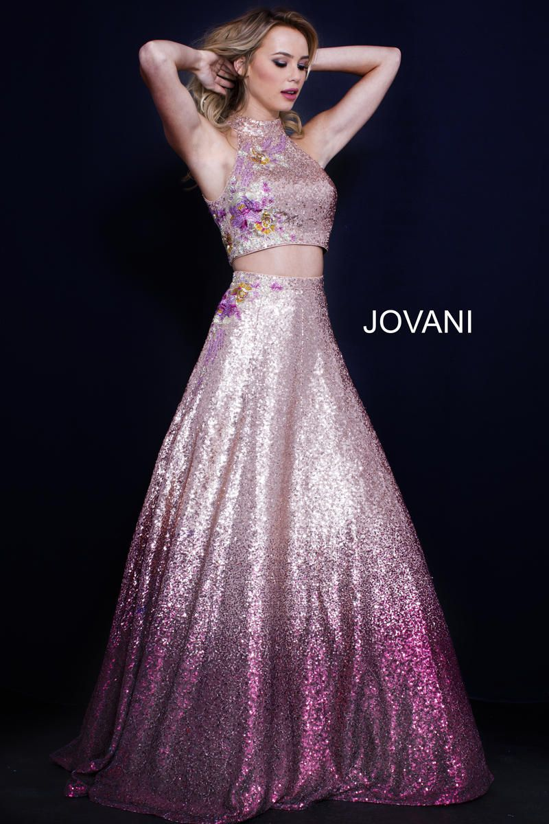 a56f9804d942 Style 54471 from Jovani is a two piece ombre sequin gown with a high neck  crop top.