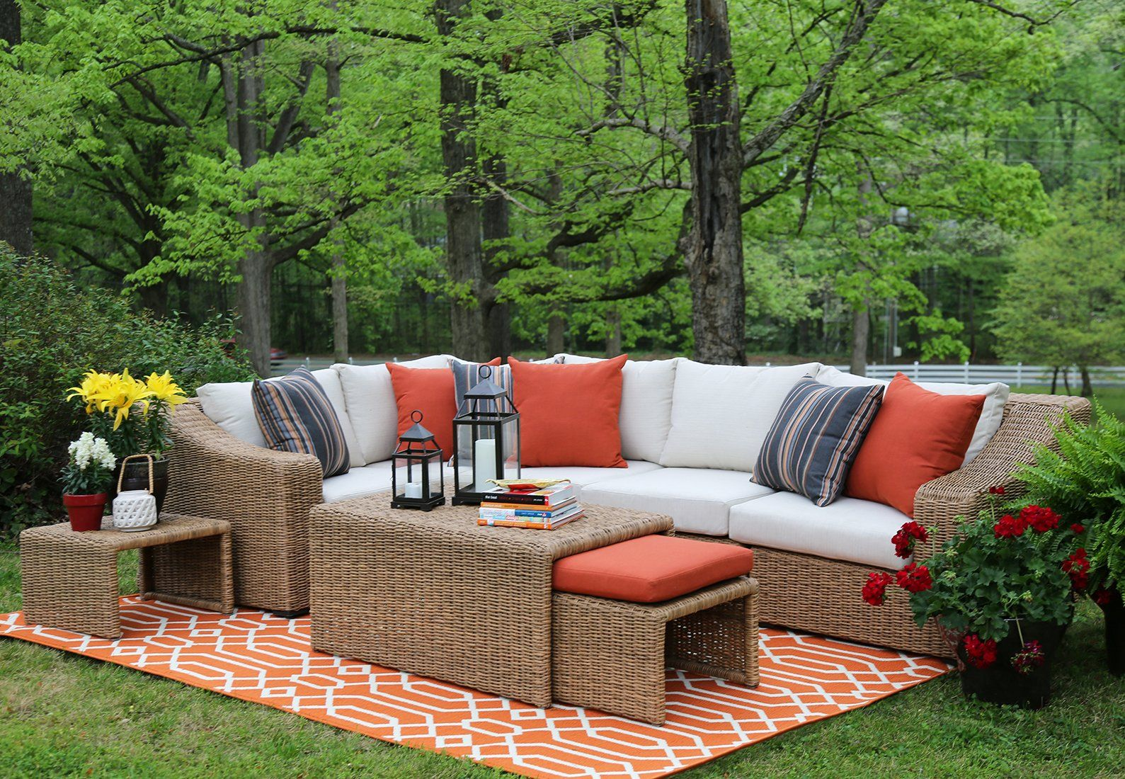 AE Outdoor SEC200340 8 Piece Arizona Sectional with Cushions. Fade and mildew resistant premium Sunbrella outdoor fabric. Rust proof aluminum frame. All weather hand woven resin wicker. Fully assembled/minimal assembly. 5 year limited warranty.