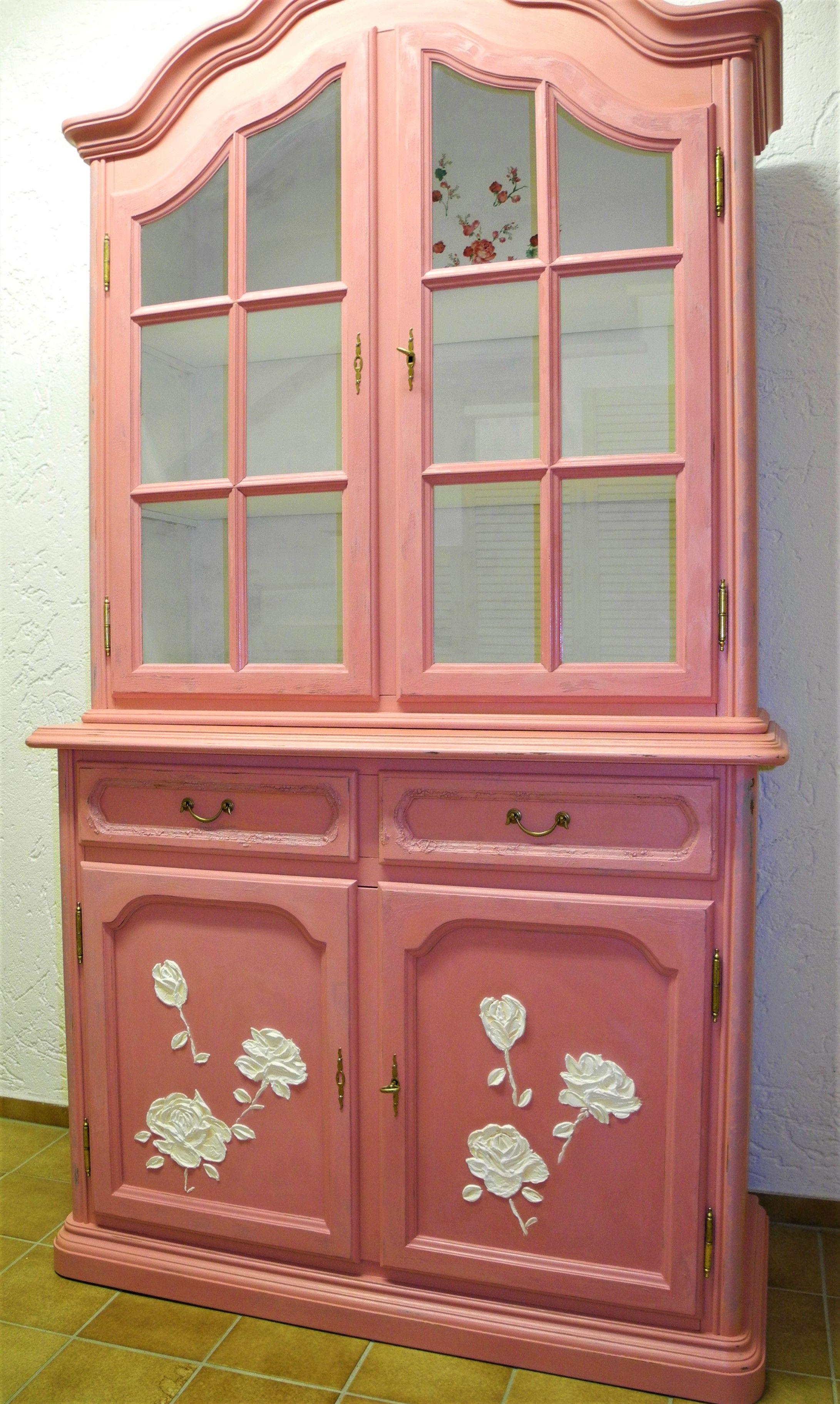 Shabby chic rosa vintage Schrank Schöne Details Decoupage | Vintage ...