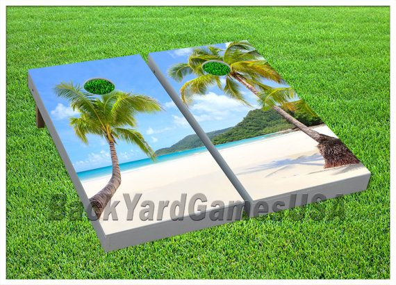 Beach Palm Tree Sunset LAMINATED Cornhole Wrap Bag Toss Decal Baggo Skin Sticker Wraps