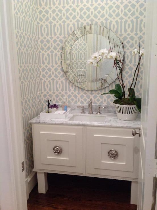 powder room vanity w/medallion hardware; soft aqua imperial