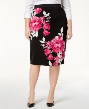 d12e5c67b3 Alfani Plus Size Floral-Print Pencil Skirt, Created for Macy's - Black 1X