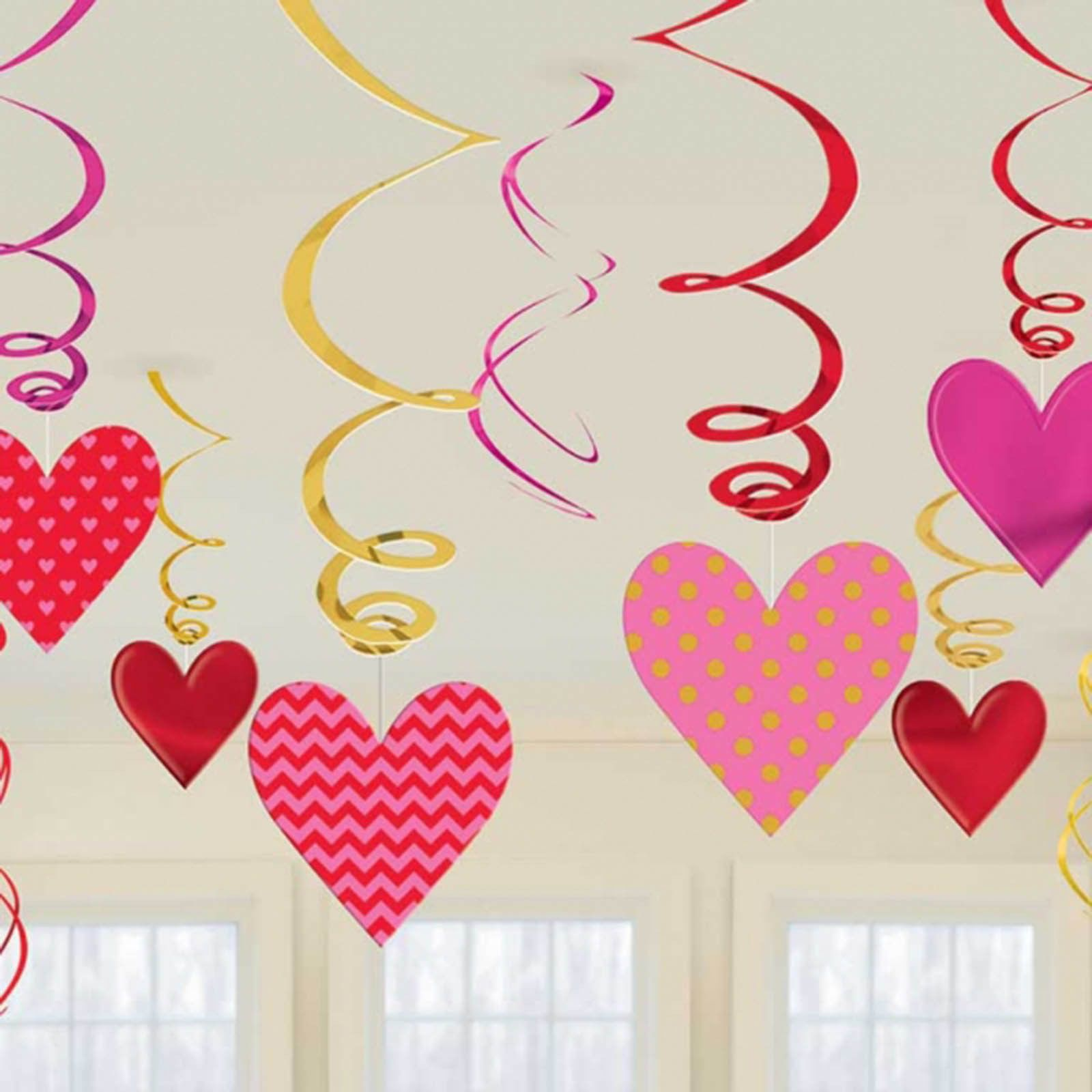 12 Assorted Hearts Valentine s Day Party Hanging Cutout Swirls