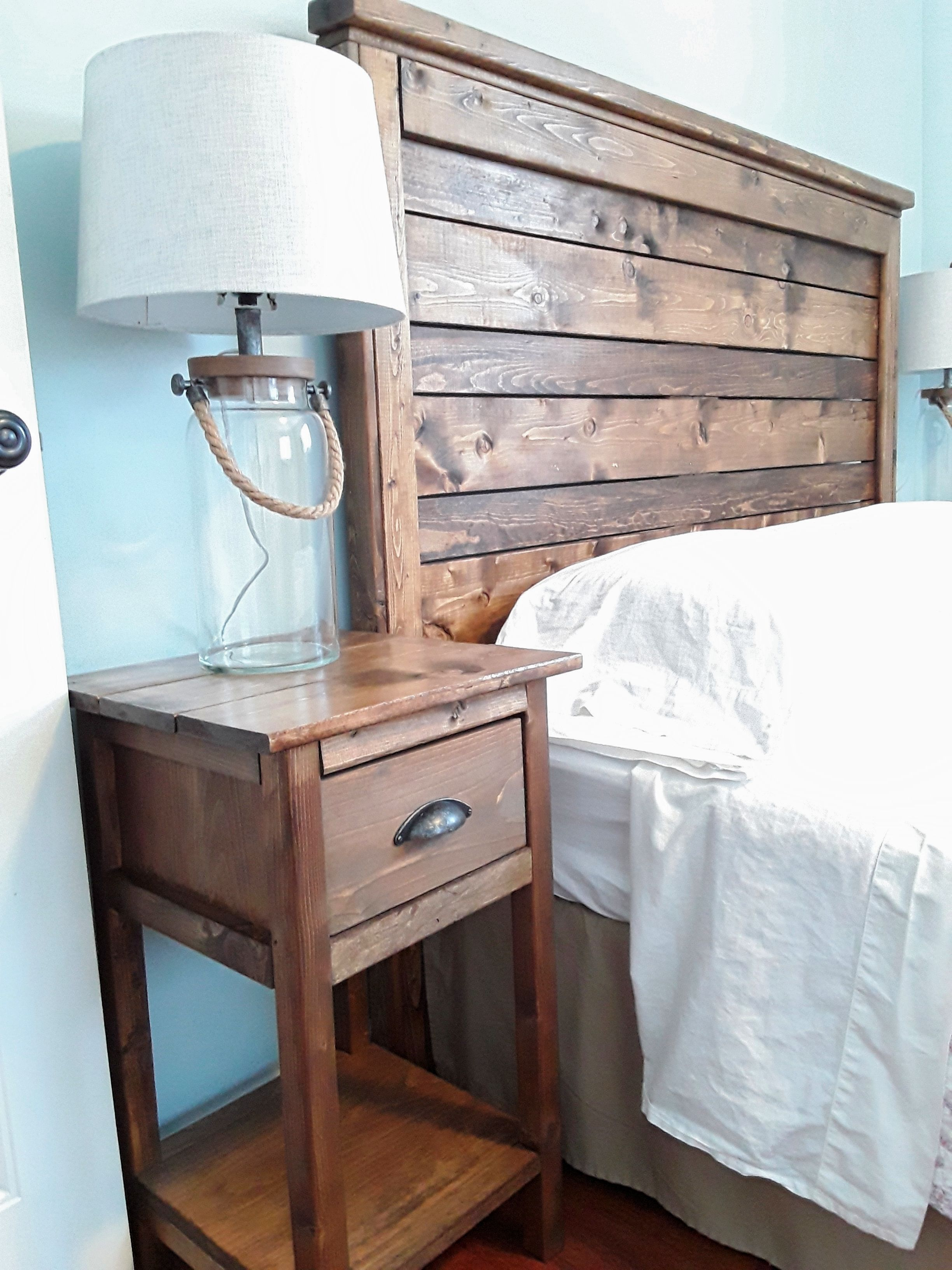 Diy Rustic Wood Headboard And Nightstand Diy Wood Headboard Rustic Wood Headboard Bedroom Diy