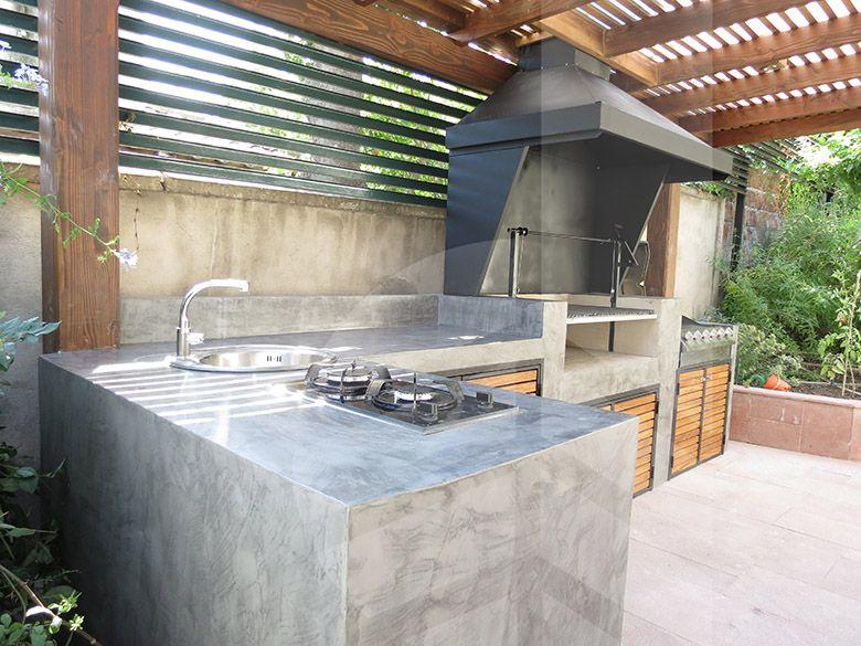 Quincho de microcemento 3 bbq pinterest santiago for Barbacoa patio interior