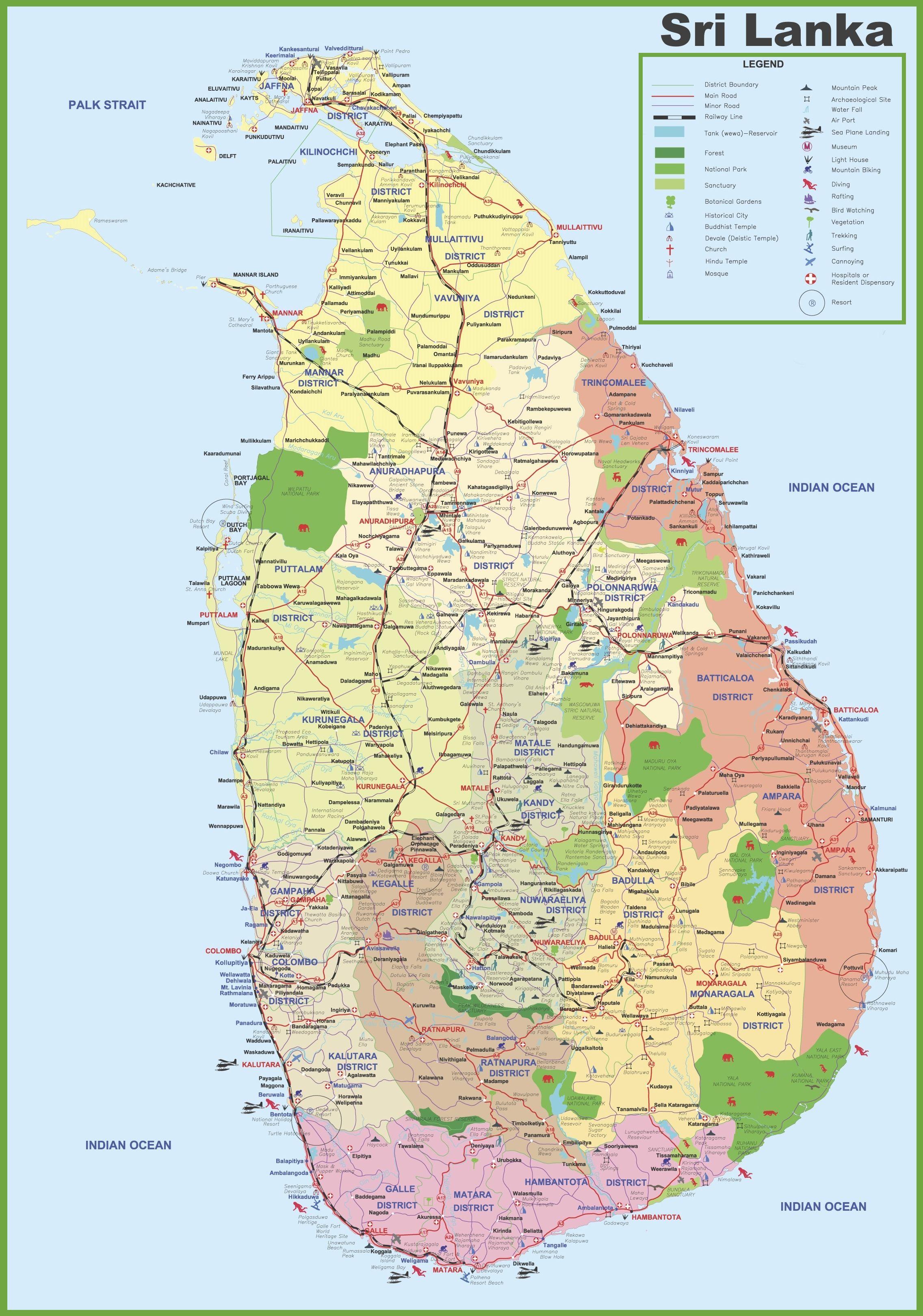 Tourist map of Sri Lanka