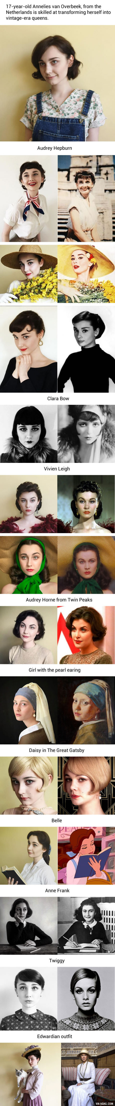 17-Year-Old Transforms Herself Into Famous Vintage Characters