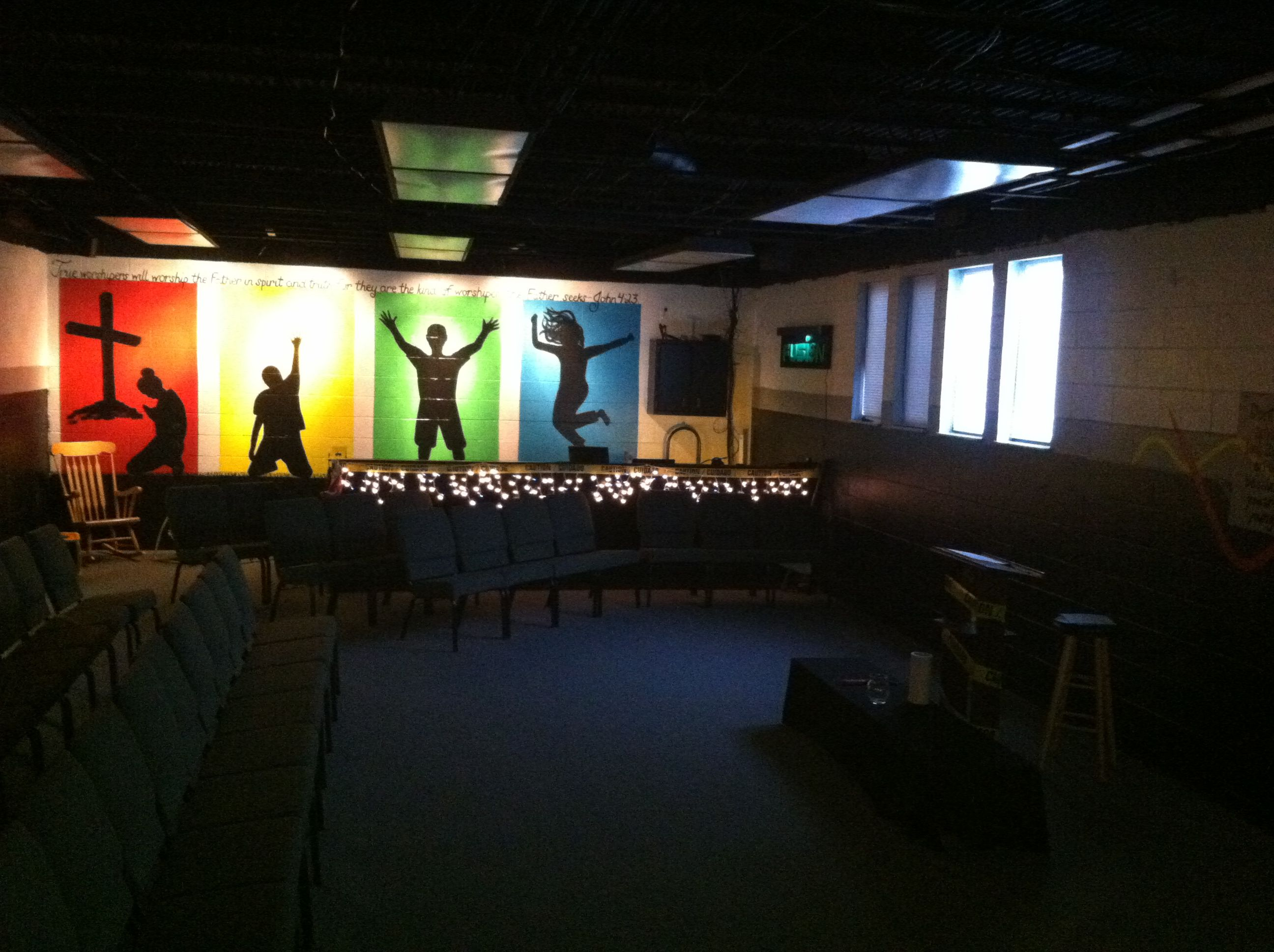 Wall mural and sound booth youth ministry church for Church mural ideas
