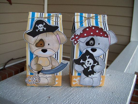 Pirate Puppies Favor Box  Set of 12 by zbrown5 on Etsy, $14.40