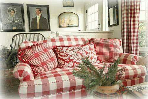 Love All The Red Farmhouse In 2019 Plaid Sofa