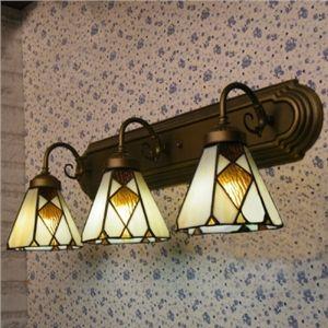 Beige C´ne abat jour Vitrail Tiffany 3 lampes Lampe pour salle de