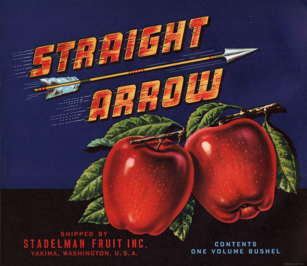 Straight Arrow Vintage Apple Crate Label Stadelman Fruit Yakima Wa