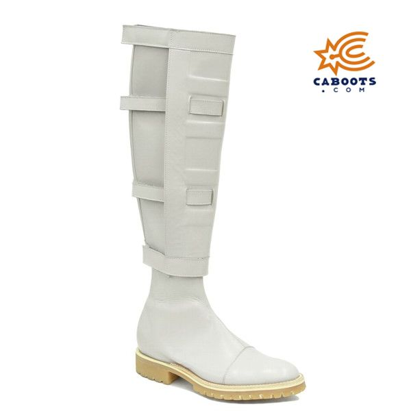 Padme Amidala Boots the Movie Star Wars Cosplay Shoes for Woman Beige PU Boots