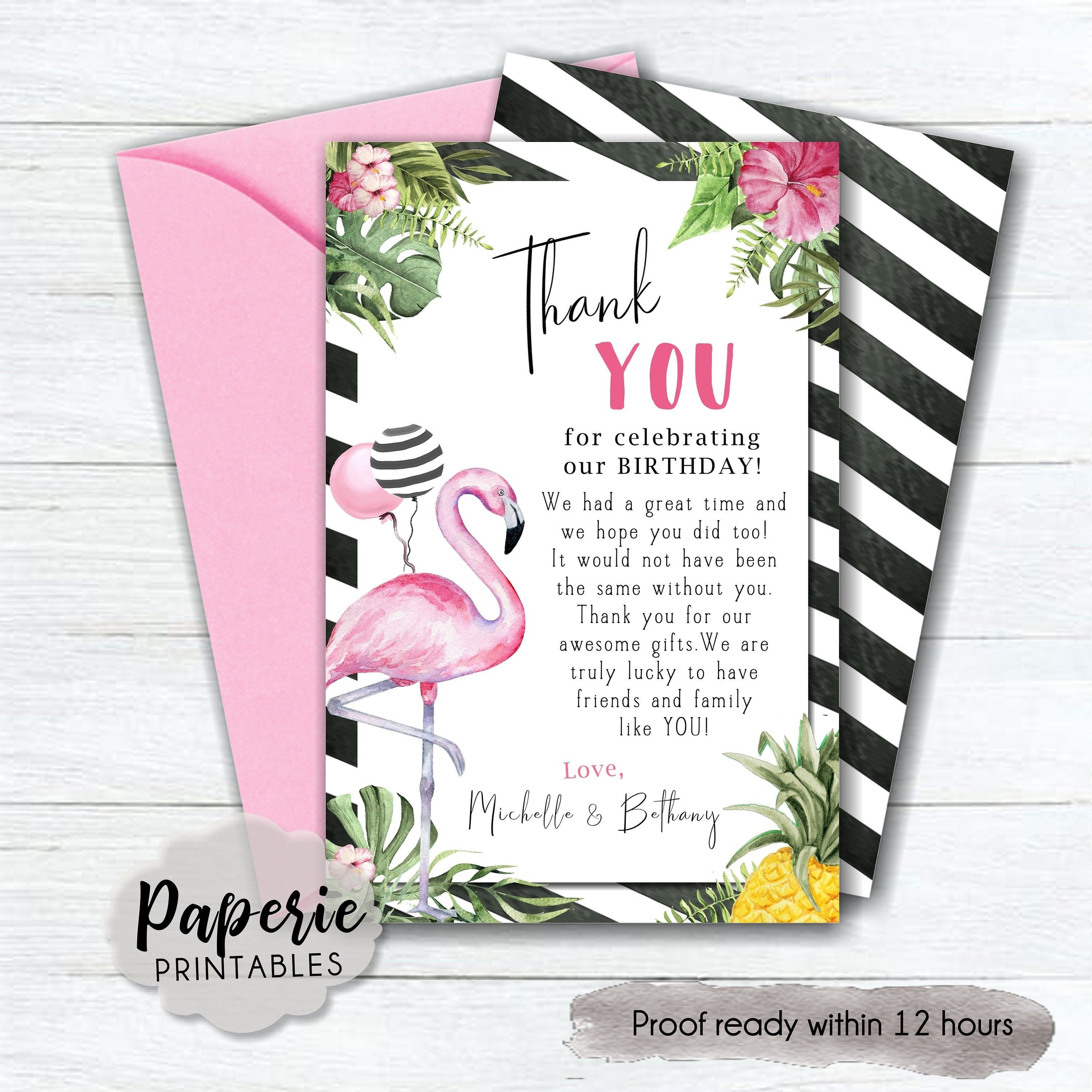 Flamingo Birthday Party Thank You Card Let S Flamingle Etsy In 2020 Flamingo Birthday Party Birthday Thank You Thank You Cards