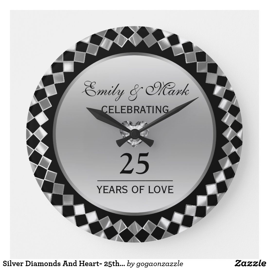 Silver Diamonds And Heart 25th Anniversary Large Clock Zazzle Com In 2020 Silver Diamonds Clock Wall Clock Gift