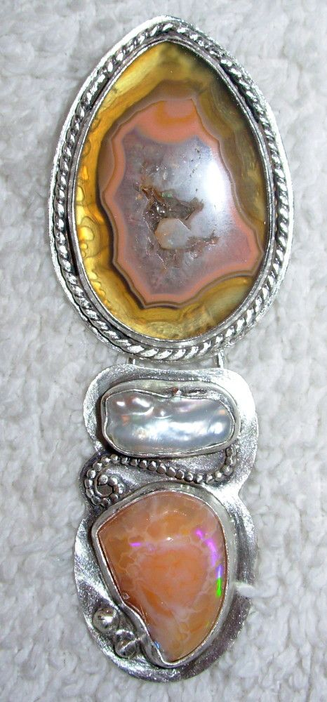 Chelle' Rawlsky montezuma agate, pearl, calcite sterling silver pendant OOAK