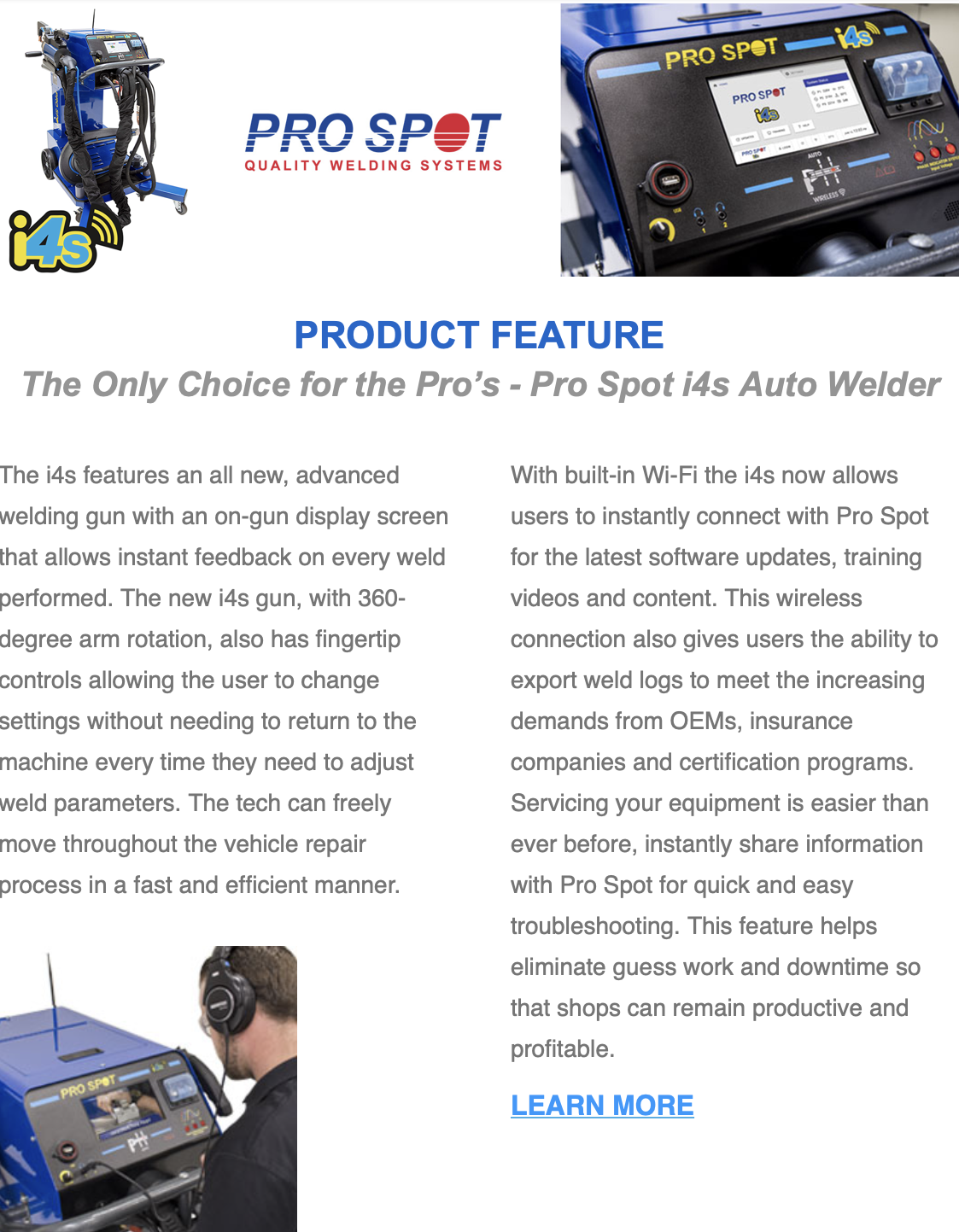 The i4s Smart Spot Welder features all the things