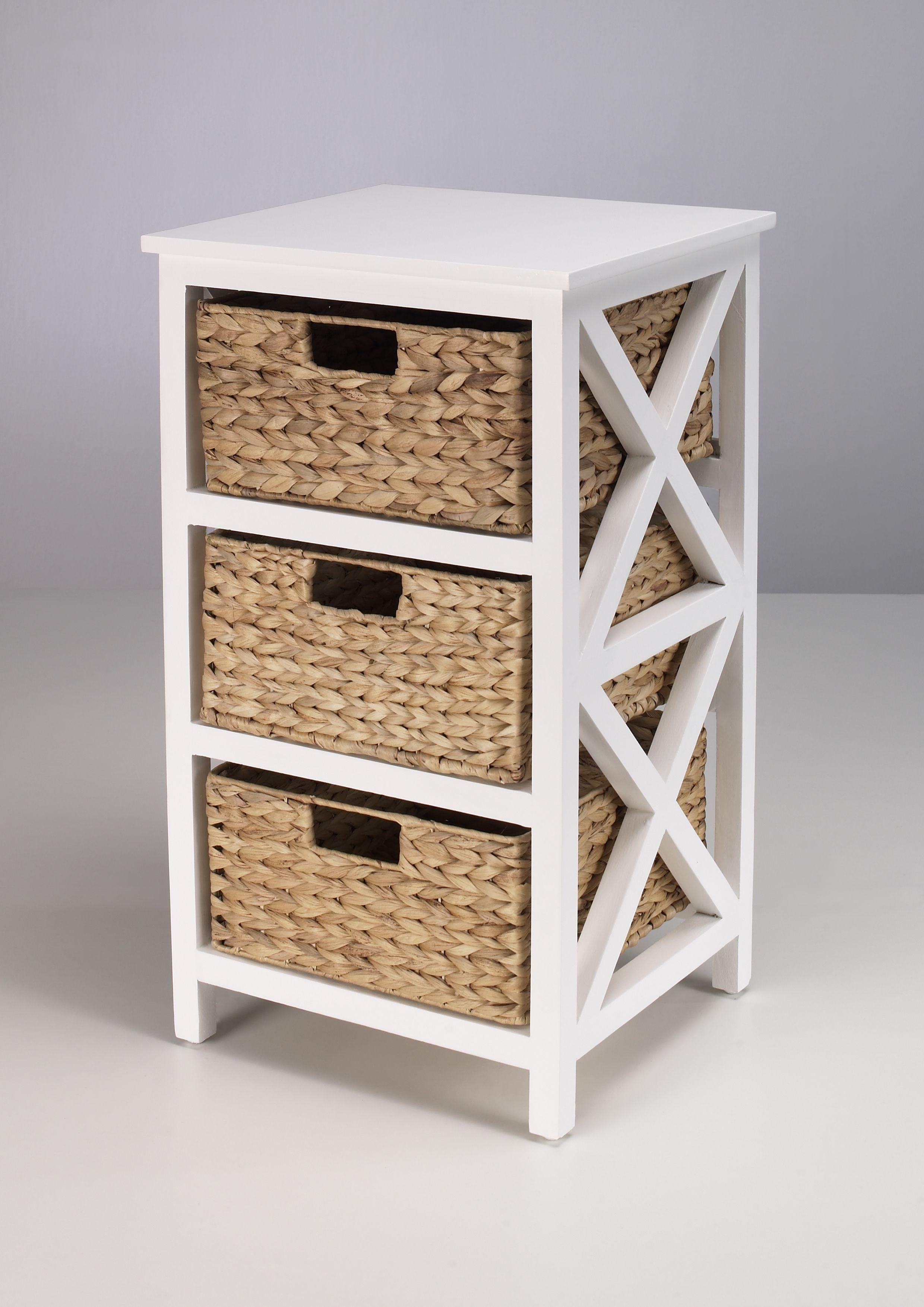 Kommode Beistelltisch Nachttisch Holz weiß lackiert 3S