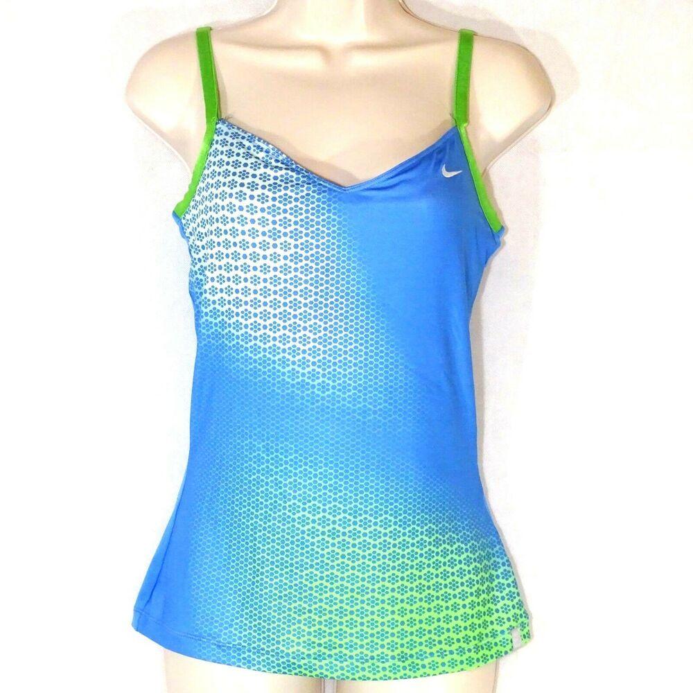 Nike Athletic Tank Top Women Size S Blue Neon Green Bra