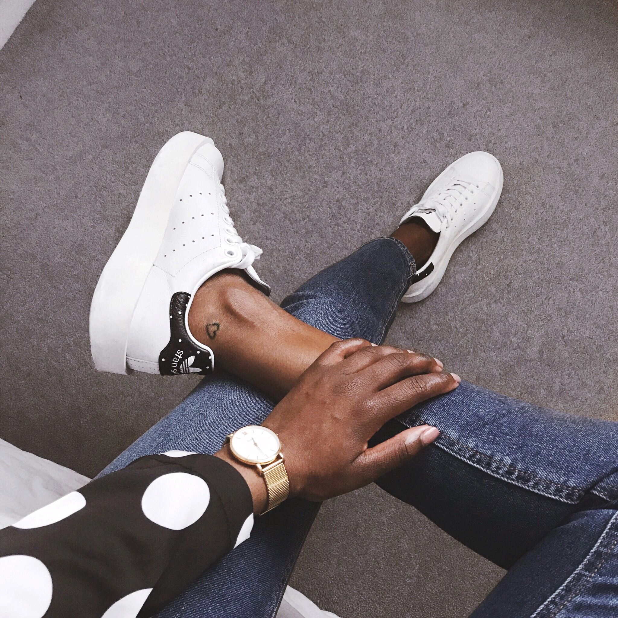 Stan smiths bold, Adidas, polka dot outfit, jeans outfit