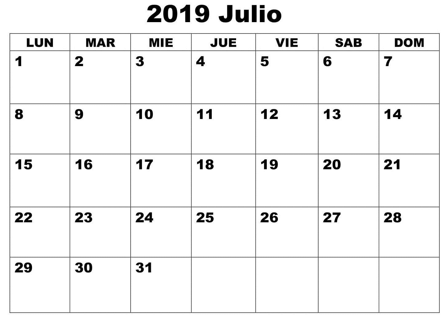 Mes De Julio Calendario.Julio Calendario Mes 2019 Calendario Julio 2019