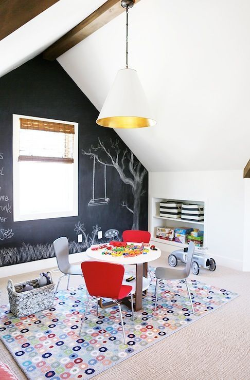 Boys Playroom With Vaulted Ceiling And Chalkboard Accent Wall Playroom Design Kids Room Inspiration Interior