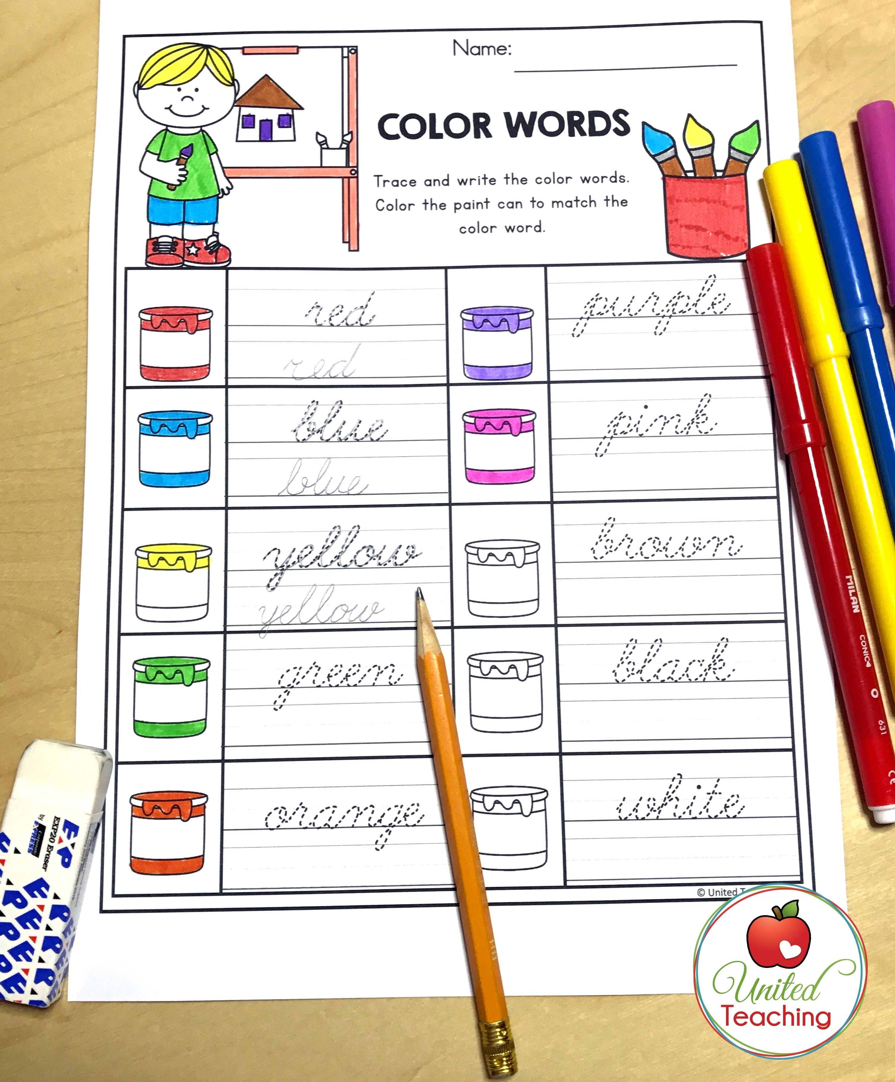 Revise Color Words And Practice Cursive Handwriting At The